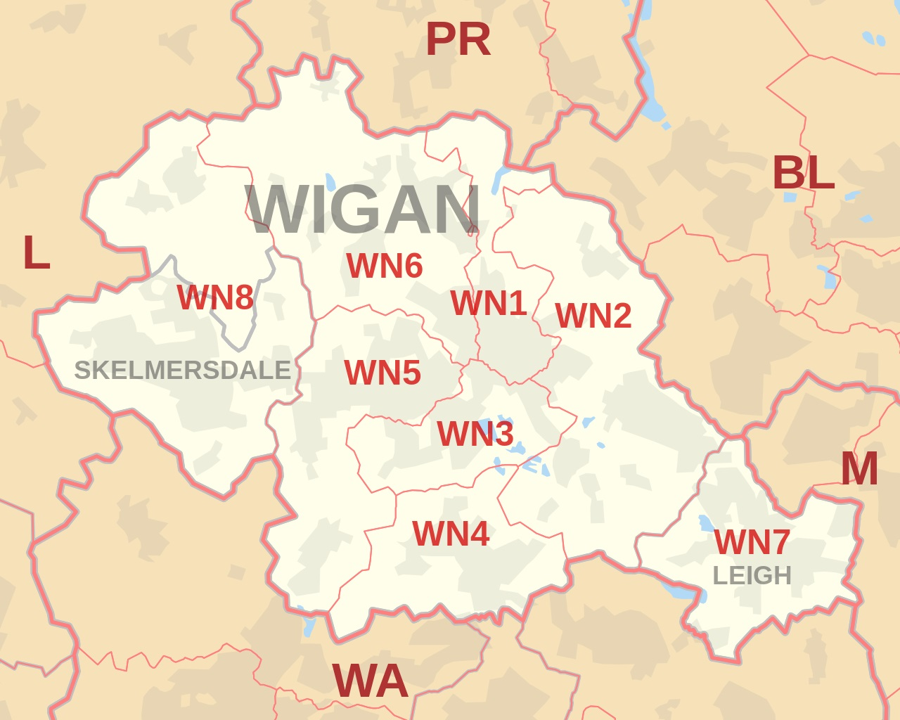 Wigan and WN postcode area map